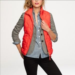 J. Crew Red Orange Puffer ZIP Up Vest